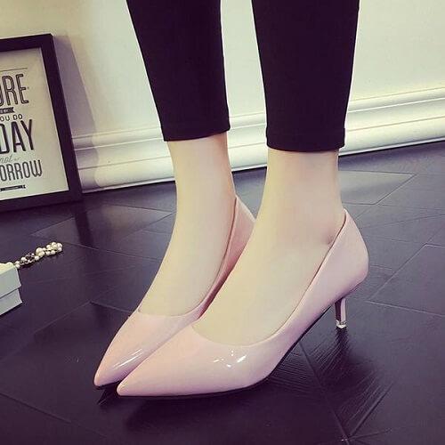 Giày cao gót da nữ đế thấp
