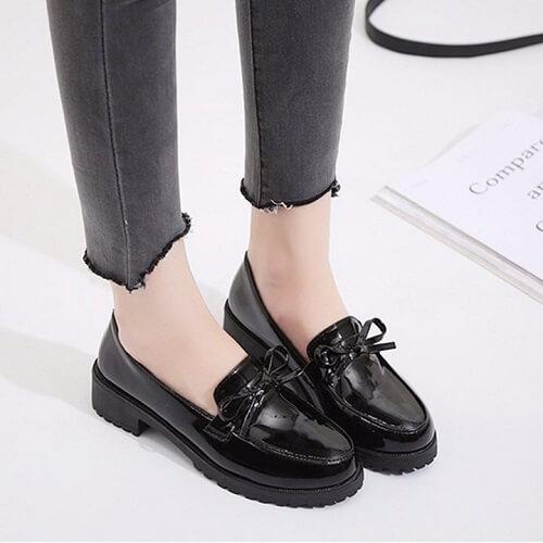 Giày lười da nữ