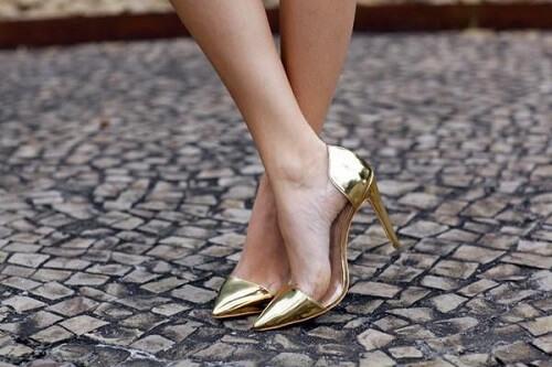 Giày nữ da cao gót màu Metallic