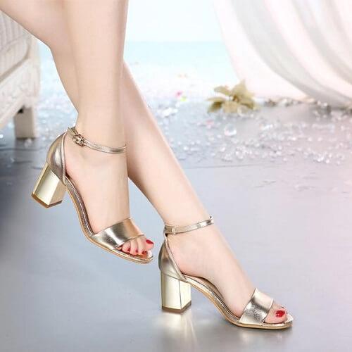 Giày sandal cao gót bằng da cho nữ