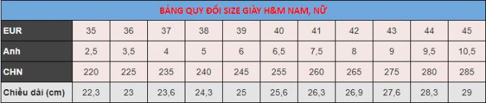 size giày H&M