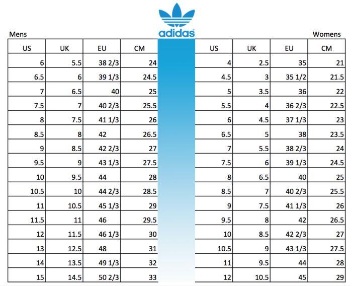 size giày Adidas