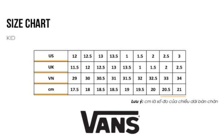 size giày Vans